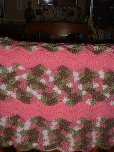 Crochet Camo Blanket--Crochet Pink Camo Blanket-Crocheted baby blanket by JessicasCrocheted on Etsy
