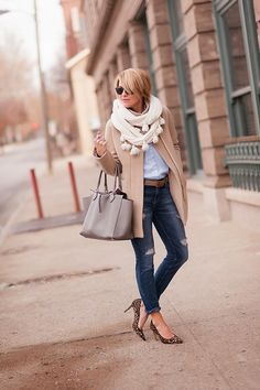 Love the camel hair coat with the blue shirt, brown belt, and skinny cropped jeans with heels. Such an office classic.