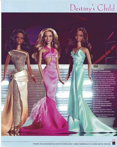 Destiny's Child Barbie dolls - Members: Beyoncé Knowles, Kelly Rowland, and Michelle Williams