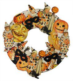 Vintage Halloween Postcard Images Wreath