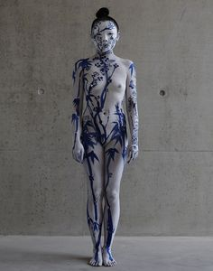 """asylum-art: Echo Morgan: Blue and White Porcelain photos: Jamie Baker The performance """"'Be the Inside of the Vase"""" was divided into two par..."""