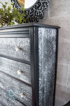 Textured-WallPaper-Dresser- GeneralFinishes- #Sponsor-Painted Furniture-decorative hardware