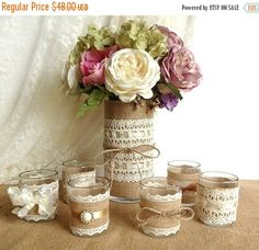 ON SALE burlap and lace covered votive tea candles by PinKyJubb