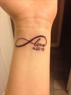 Love Infinity tattoo with child's birthdate