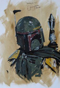 boba fett oil painting with signature of Jeremy Bulloch (boba fett )