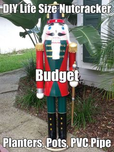 DIY Lifesize Nutcracker on a budget, Pots, Planters and PVC.: My step by step DIY Life Sized nutcracker How To: . Christmas Design, Christmas Projects, Winter Christmas, Christmas Holidays, Country Christmas, Antique Christmas, Primitive Christmas, Christmas Ideas, Christmas Porch