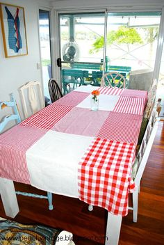 tablecloth made from dish towels| Beach Vintage