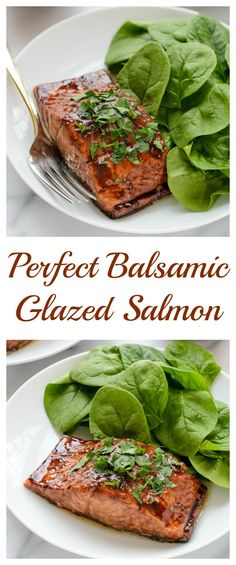 An easy and romantic dinner recipe for perfect balsamic glazed salmon that's rea. An easy and romantic dinner recipe for perfect balsamic glazed salmon that's ready in only 20 minutes. Looks impressive, tastes delicious, and is so simple to make! Seafood Dishes, Seafood Recipes, Cooking Recipes, Healthy Recipes, Salmin Recipes, Paleo Fish Recipes, Cooking Tips, Romantic Dinner Recipes, Dinner Ideas