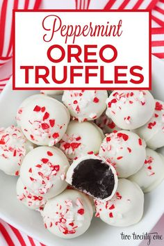 These peppermint Oreo truffles are incredibly delcious and easy to make-- only Oreos, cream cheese, peppermint extract, and chocolate-- no baking!