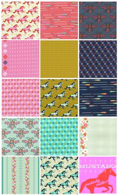 Melody Miller's Mustang Cotton+Steel Horses! Arrows! Melody's incredible style! Fat Quarter Shop's Jolly Jabber