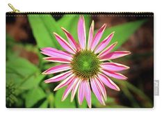 Zinnia Carry-all Pouch featuring the photograph Pink And Green Zinnia by Cynthia…
