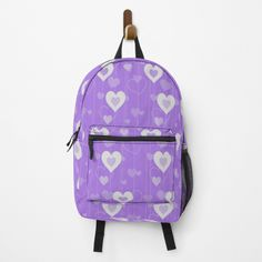 Heart Patterns, Fashion Backpack, Clutches, Traveling By Yourself, Print Design, Hearts, Backpacks, Printed, Purple