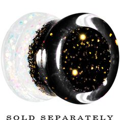 0 Gauge Black Gold White Acrylic Glitter Party Saddle Plug   Body Candy Body Jewelry