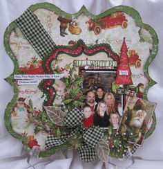 Lovely Family Christmas Page...with green checked ribbon & bow.