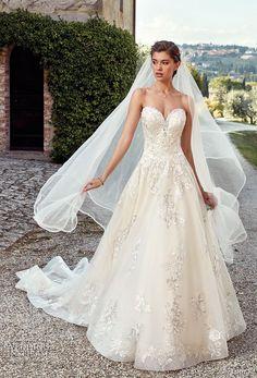 eddy k 2019 ek strapless sweetheart neckline heavily embellished bodice romantic ivory a  line wedding dress royal train (38) mv -- Eddy K. 2019 Wedding Dresses