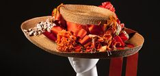 Hat, Europe, c. 1910, straw, silk ribbon, silk & cotton floral trimming