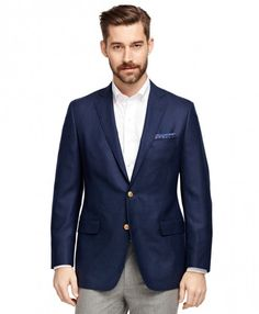 Classic two-button blazer made from wool with metal buttons. Half-lined, notch collar and center vent. Crafted in our trimmer Fitzgerald fit, it features slimmer lines, narrower lapels and higher, hand-finished upper armholes. Blue Blazer Outfit Men, Navy Blazer Men, Blazer Outfits Men, Navy Blazers, Mens Wardrobe Essentials, Men's Wardrobe, Brooks Brothers, Navy Sport Coat, Well Dressed Men