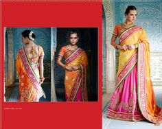 #Pink & #Yellow #Viscose #Saree With #Orange #Blouse $172.73 www.fashionumang.com