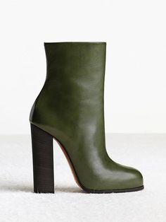 Céline   Olive Green Calfskin Ankle Boots
