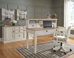 Sarvanny white wood desk and credenza set with short hutch and matching swivel chair