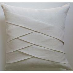 The Slubby Linen Herringbone pillow is knife edged with herringbone detail on the front.