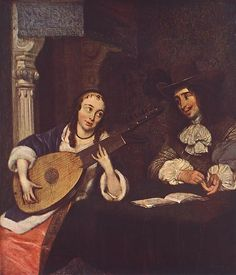 Woman Playing the Lute by Gerard ter Borch