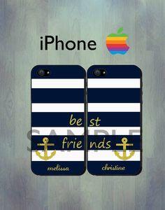 Nautical Best Friends Blue Stripe iPhone case  by thecasefactory, $29.99