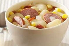Lima Bean-Sausage Soup-This is an easy recipe for a delicious and hearty soup. Perfect for the Fall and Winter. It is also a healthy, low calories, low carbohydrates, low sodium, low cholesterol, low sugars, diabetic and WeightWatchers (5) PointsPlus recipe. Makes (6) servings with a (1-1/2 cup) serving size.