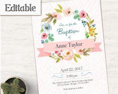 editable lds baptism invitation girl editable file instant download