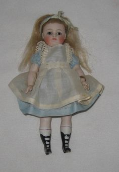 """Stunning 1880's Kestner Alice in Wonderland AB All Bisque 6"""" Tall Doll...swoon!!"""