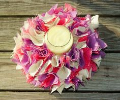 Candle Holder, Pastel Wreath, Small Burlap Wreath, Girls Bedroom Decor, Table…