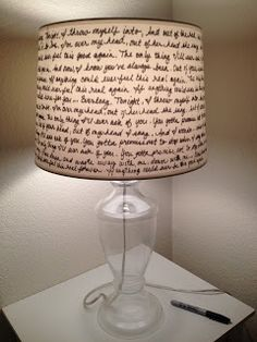DIY: Dress up your lampshade with handwriting.