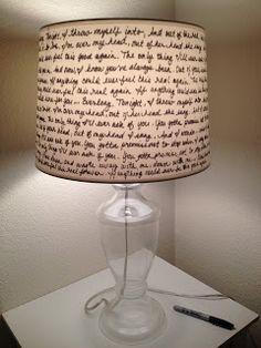 "Lamp shade with lyrics to Foo Fighters' ""Everlong"" (could use any lyrics, poem, etc. Luminaire Original, Lamp Shades, Decoration, Diy Home Decor, Sweet Home, Diy Projects, Crafty, Song Lyrics, Homemade Home Decor"
