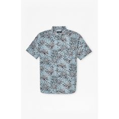 French Connection Koko Cotton Floral Short Sleeves Shirt ($78) ❤ liked on Polyvore featuring men's fashion, men's clothing, men's shirts, men's casual shirts, cashmere blue, french connection mens shirts, mens regular fit shirts, mens button down collar shirts, mens floral print shirts and mens short sleeve shirts