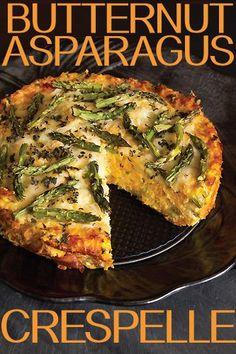 Vegetarian Thanksgiving Main Dish: Butternut Asparagus Crespelle Tart via Greg Henry | Sippity Sup