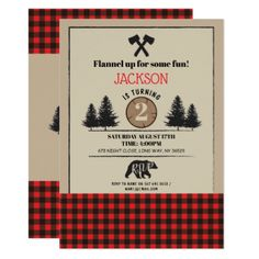 Lumberjack Birthday Party Any Age Invite Bear Wood - birthday invitations diy customize personalize card party gift