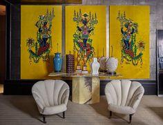 """Lote 253. Bjorn Wiinblad (Copenague, 1918 - Kongens Lyngby, 2006), """"Moros venecianos"""", tres paneles de terciopelo estampado años 60 220 x 120 cm"""
