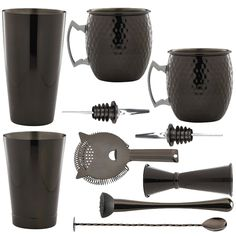 <strong>10 Piece Gun Metal Cocktail Set With Gun Black Cocktail Glasses </strong>- All the tools for the job to make shake andstir your way to cocktail heaven. Ideal for cocktail novices and experts alike. This cocktail set is the perfect starting kitfor all cocktail lovers. This is a stylish and elegant addition to any bar or home and makes a fabulous gift for all keen mixologists.