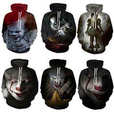 Print Sweatshirt Hoodie Stephen King It Pennywise Horror Clown Sportswear Hot Stranger Things, Printed Sweatshirts, Hoodies, Wolf Jewelry, Sweater Hoodie, Pullover, Things To Buy, Picture Show, Sportswear