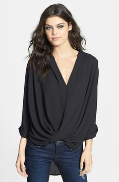 Topshop Surplice Woven High/Low Top available at #Nordstrom