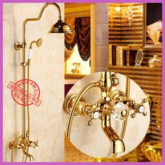 Shower Faucets Dual Handle Rainfall Round Shower Head Wall Mount Bathroom Set Gold Shower Set Brass Brushed Exposed Bathtub