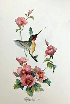 Little Hummer III is an 18 x 11 lithograph based on an original watercolor by Carolyn Shores Wright. This image is one of many hummingbirds with flowers she has painted over the years.