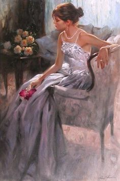 Johnson, Richard S (b,1939)- Woman Sitting w Flowers