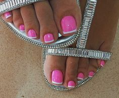 Luv it , im more of a purple person , but looks pretty though. Pretty Toe Nails, Cute Toe Nails, Fancy Nails, Pink Nails, Pedicure Nail Art, Pedicure Designs, Toe Nail Designs, Toe Nail Color, Toe Nail Art