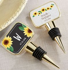 Have you bonded with friends and family over shared bottles of wine? Then why not hand out personalized bottle stoppers to your guests! This tool is a must for every home liquor cabinet. And the sunflower design is perfect for a bright, summer wedding! | Bottle Stoppers | 6 Most Useful Wedding Favors | My Wedding Favors
