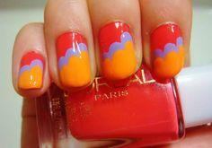 Cute Nail Designs for Short Nails With Edge Nail Color Orange Fingernail Designs, Toe Nail Designs, Nail Polish Designs, Acrylic Nail Designs, Nail Designs Tumblr, Short Nail Designs, Pop Art Nails, Nail Art, Fancy Nails