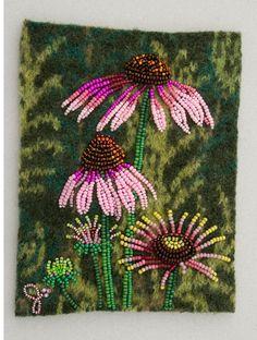 CONEFLOWER 2 print 8 1/2x 11 by JoWoodBeadArt on Etsy, $25.00 Bead Embroidery Patterns, Beaded Embroidery, Beading Patterns, Cross Stitch Embroidery, Hand Embroidery, Indian Beadwork, Native Beadwork, Jo Wood, Seed Bead Art