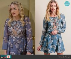 Gabi's blue floral long sleeved dress on Young and Hungry. Outfit Details: https://wornontv.net/56814/ #YoungandHungry