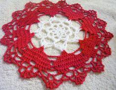 crocheted  Valentines doily handmade