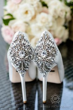 Stunning embellished wedding heels | Rowell Photography